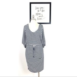 Calvin Klein dress 8 stripe drawstring black blue